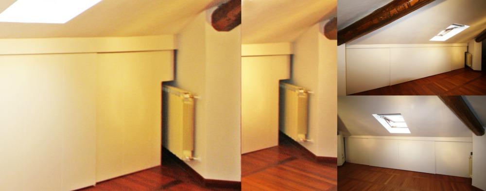 Armadio Mansarda installato su parete con calorifero