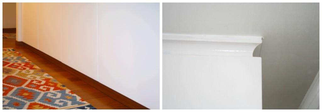 Armadio bianco con zoccolino integrato. Armadio bianco raccordato a soffitto
