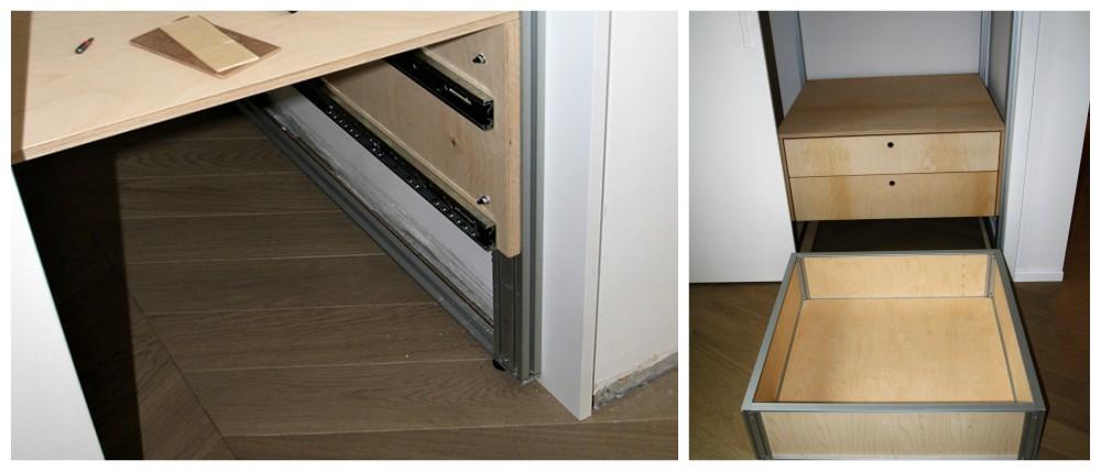 A pavimento nessuna ostruzione frontale o posteriore. Accesso totalmente libero all'interno dell'armadio per pulizia ed igiene.