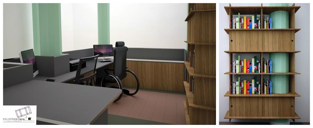 Collage di alcuni rendering per il bureau del Museo