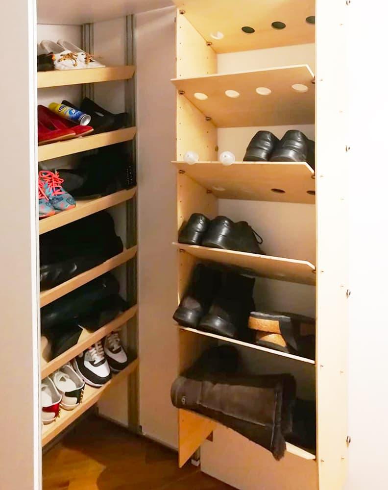 Scarpiera doppia nell'armadio