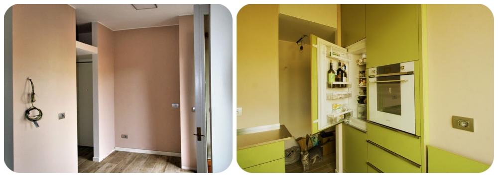 Cucina, spazio nudo e colonne