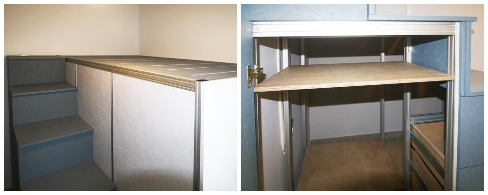 Cabina armadio con letto soppalco